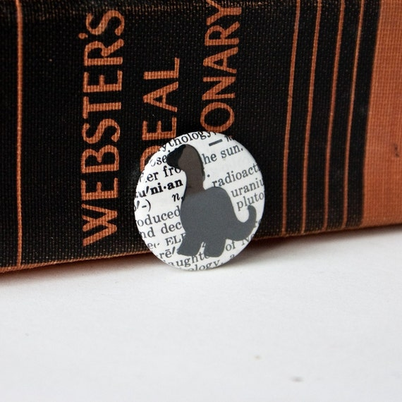 Little Dinosaur on a Vintage Dictionary Page, One-Inch Pinback Button