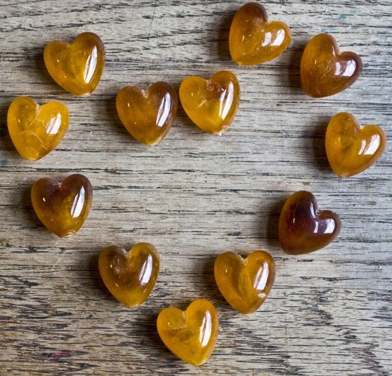 Vintage Amber Heart Beads of a Mystery Material, set of Twelve (12)