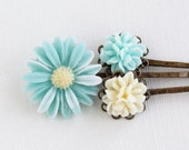 Aqua Hair Pins Bobby Pins Antique Brass With Vintage Style Flowers - Set of Three - Stocking Stuffer Gift Idea