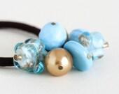 Hair Elastic - Blue Gold Glass Beach - Beach Inspired - Brown Hair Elastic