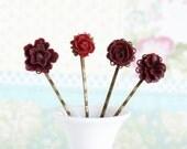 Flower Hair Pins, Bobby Pins  - Burgundy Red - Set of Four
