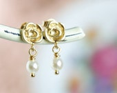 Petite Gold Flower Pearl Earrings - Drop Earrings - Wedding Earrings - Bridesmaids Gifts - Dainty Earrings