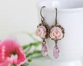 Pink Flower Earrings with Pale Rose Swarovski Crystals