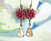 Burgundy Earrings with Pale Rose Vintage Jewels and Burgundy Flowers,
