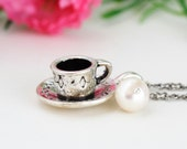 Silver Tea Cup Necklace -Ivory Pearl, Alice in Wonderland, Gift For Tea Lover, Gift For Mom