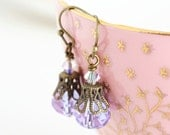Mauve Crystal Earrings, Antique Brass - JacarandaDesigns