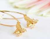 Bee Earrings, Honey Bee Gold Hoop Earrings, Tiny Matte Gold Honey Bee Charms, Summer Fashion, Gift For Girlfriend, Gift For Mom