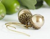 Acorn Earrings,Pale Bronze Pearl Acorn Earrings, Dangle Earrings, Rustic Earrings, Nature Earrings, Brass Acorns, Gift For Mom