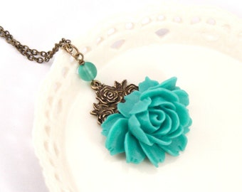 Floral Necklace - Rose Necklace - Nature Inspired - Flower Pendant - Unique Jewelry - Teal Flower Necklace - Botantical Jewelry