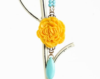 Yellow Statement Necklace - Turquoise and Yellow Flower Necklace - Beautiful Floral Necklace - Large Flower Necklace - Girlfriend Gift