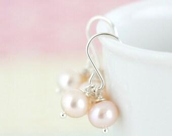 Dreamy Pink Pearl Earrings, Pink Freshwater Pearls, Elegant Feminine Earrings, Gift For Woman, Mothers Day Gift