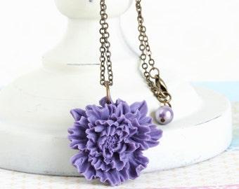 Purple Flower Necklace - Brass Chain - Flower Statement Necklace - Floral Accessories - Purple Pendant - Flower Pendant - Gift For Woman