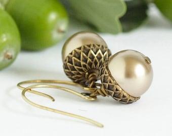 Acorn Earrings - Woodland Earrings - Dangle Earrings - Rustic Earrings - Nature Earrings - Brass Acorns - Gift For Mom