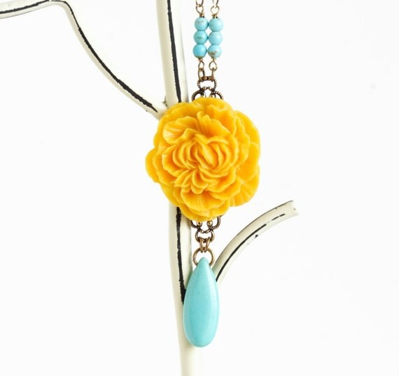 Yellow Statement Necklace, Turquoise and Yellow Flower Necklace, Beautiful Floral Necklace, Large Flower Necklace, Girlfriend Gift