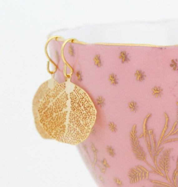 Gold Leaf Earrings - Nature Earrings - Simple Leaf Earrings - Dangle Earrings - Lightweight Earrings - Gold Veined Leaves - Gift For Woman