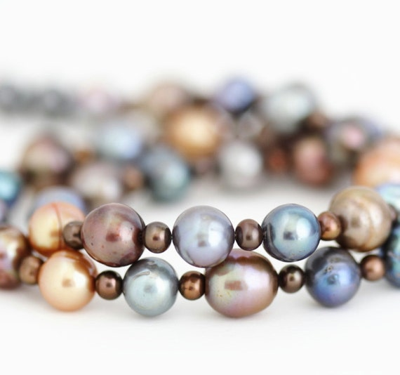 Pearl Necklace, Brown Gold Blue Grey, Fall Jewelry, Warm Tones, Timeless Classic Jewelry