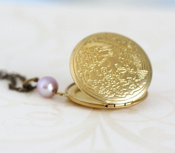 Locket Necklace, Lilac Pearl Brass Round Locket Necklace, Golden Locket, Engraved Locket, Sweetheart Necklace