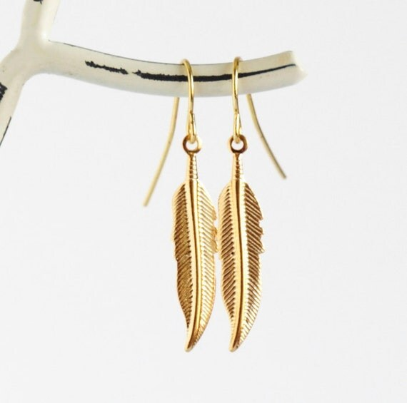 Feather Earrings, Feather Jewelry, Brass Feather Earrings, Gold Color Feathers, Lightweight Earrings, Dangle Earrings, Gift For Woman