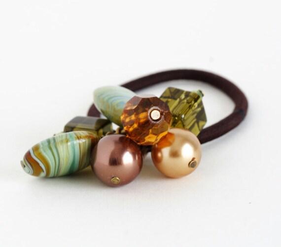 Sale 50% off -  Beaded Hair Elastic, Brown Green Hair Tie, Gift  For Girl
