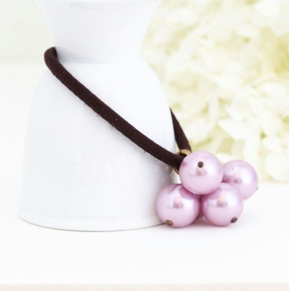 Pearl Beaded Hair Elastic Hair Accessory, Lilac Pearl Hair Accessory, Gift  For Girl