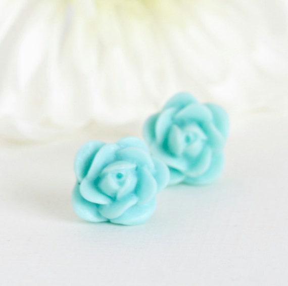 Pale Turquoise Stud Earrings, Aqua Flower Earrings, Rosebud Earrings, Floral Accessories, Gift For Mom