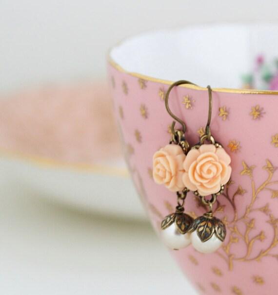 Shabby Chic Peach Earrings, Flower Earrings, Ivory Pearl Earrings