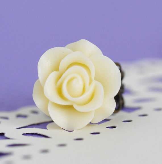 Black Friday Sale - Ivory Flower Ring - Antique Brass Plated Adjustable Filigree Ring With Large Ivory Flower, Gift For Woman