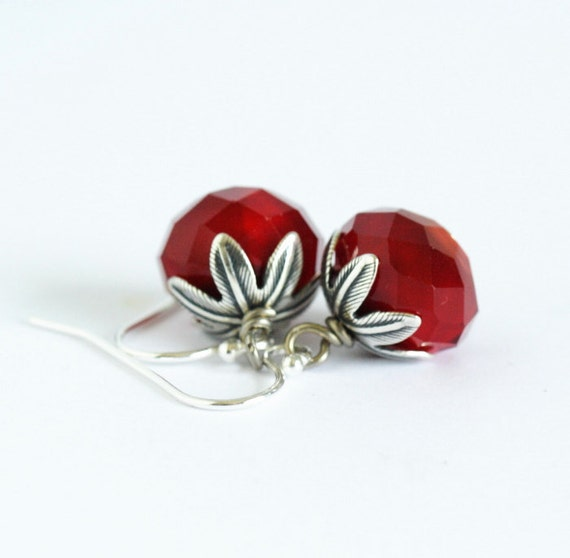 BoxingDaySale - 35% off - Red Earrings With Sterling Silver Ear Wires