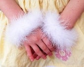 Custom Marabou Wristlets - Set of 2 white marabou feather bracelets - get a pair to match your tutu or angel costume