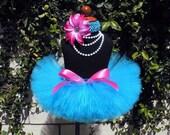 Baby Photo Prop Tutu - Turquoise Blue Tutu - Pink Flower Headband - Berry Blue Blast - Sewn 6'' Infant Toddler Tutu - Ready To Ship