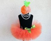 Baby Tutu Set - Pumpkin Costume - READY TO SHIP - Orange Infant Tutu and Beanie Set - Sewn 6'' Infant or Toddler Tutu and Beanie Hat