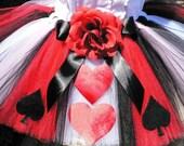 Queen of Hearts Tutu - Adult Teen Tutu - Custom Sewn Tutu - 12'' long - up to 42'' waist - For Valentine's Day, Mardi Gras