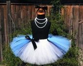 Birthday Tutu - Blue Tutu - Sewn Blue Black and White Tutu w/ Apron Look - Ready To Ship - Alice in Wonderland - sizes up to 5T - Photo Prop