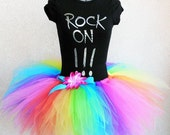 Neon Rainbow Pixie Tutu - Brilliant - For Pre-teens Teens or Adults - Custom SEWN 15'' Pixie Tutu