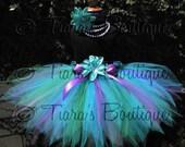 "Girls Birthday Tutu - Blue Green Purple Tutu - Aquamarine, an ocean pixie - 15"" Pixie Tutu - SEWN - sizes up to 5T"