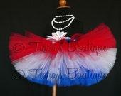 All American Tutu - Red White Blue Custom Sewn 8'' Tutu - sizes Newborn to 5T