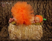 Pumpkin Tutu - My First Pumpkin Costume - Orange Infant Tutu & Hat Set - 6'' Infant Toddler Tutu w/ Beanie - up to 24 months