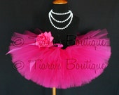 "Girls Tutu Skirt - Hot Pink Tutu - Birthday Tutu - Fabulous Fuchsia - Custom Sewn 8"" Tutu - sizes Newborn to 5T"