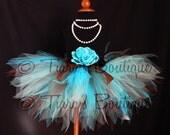 Girls Birthday Tutu, Turquoise Blue and Chocolate Brown, Sea Breeze, Custom Sewn Pixie Tutu, Baby, Toddler, Tween Tulle Skirt Photo Prop