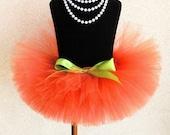 "Orange Tutu - Sewn Tutu - Pumpkin Tutu - Ready to Ship - 8"" Girls Tutu - sizes Newborn to 5T - Photo Prop for Girls"