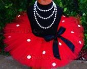 Girls Tutu, Red Minnie Tutu, Red Tutu w/ White Spots, Sewn Tutu for Valentine's Day, Birthday Parties, Christmas, Newborn to Girls size 12