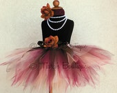 """Fall Tutu - Auburn - Red Brown Gold Custom Sewn 13"""" Pixie Tutu - sizes newborn up to 5T - Beauty of Autumn Collection"""
