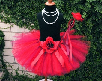 "Girls Tutu Skirt - Red Tutu - Custom Sewn 10"" Tutu - Roses Are Red Tutu - size Newborn to 5T - Tutu Only"