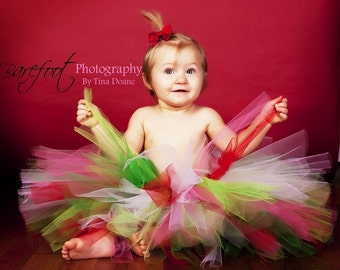 "red white green pink tutu - Whobilation Celebration Tutu - Custom Sewn 8"" Christmas Tutu - sizes newborn up to 5T"