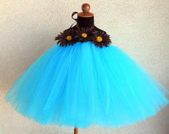 Desert Bloom, Turquoise and Chocolate Brown - Custom SEWN Tutu Dress - any size up to 4/5 and 30 inches in length