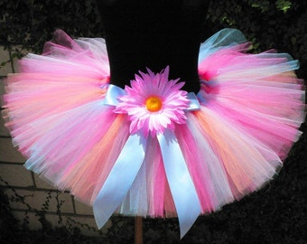 "Girls Tutu Peach Pink Aqua Garden Party Tutu, Custom Sewn 8"" Tutu, Includes a coordinating headband and flower clip"