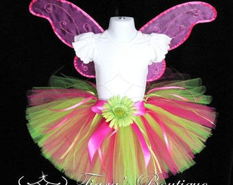 "Girls Tutu - Hot Pink Lime Green Tutu - Birthday Tutu - Radiant Beauty - Custom Sewn Tutu - up to 10"" long - size NB to 5T"