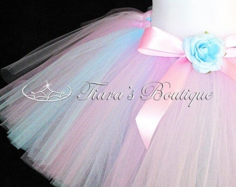 Custom Tutu Skirt for Girls, Babies, Toddlers - Pink Blue Tutu - Spring Blossoms - Sewn Tutu - up to 12""