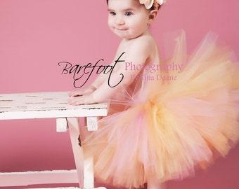 """Peach Tutu, Pink Tutu, Girls Tutu, Baby Tutu, Photo Prop Tutu, Honey Tutu, 8"""" Tutu, Pink Orange Yellow Tutu, Birthday Tutu, Pastel Tutu"""