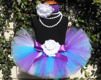 Purple Blue White Custom Tutu - Sewn Infant Toddler Tutu and Headband Set - LILACS - sizes newborn up to 24 months